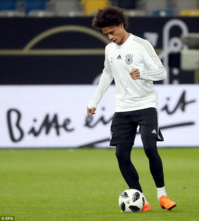 Manchester City forward Leroy Sane was present during the session in Dusseldorf