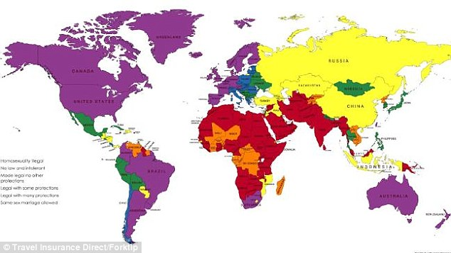 A world map, (pictured) identifying countries and territories according to how tolerant national attitudes were towards LBGTI couples, was released by Travel Insurance Direct