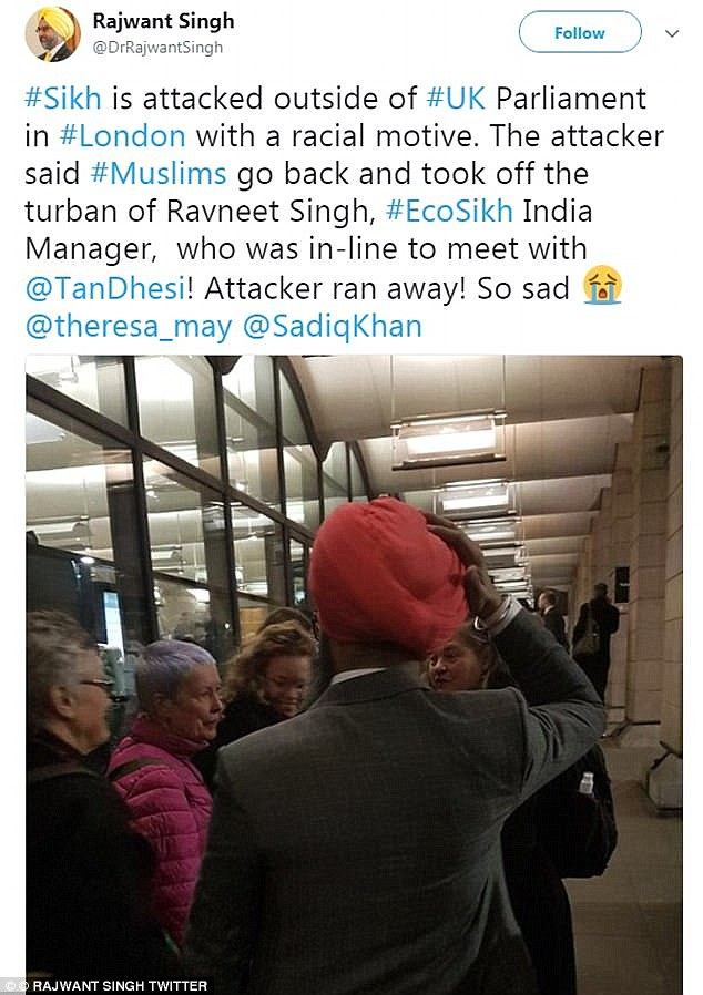 An image taken moments after the assault was posted on Twitter by Dr Rajwant Singh who saw it unfold.
