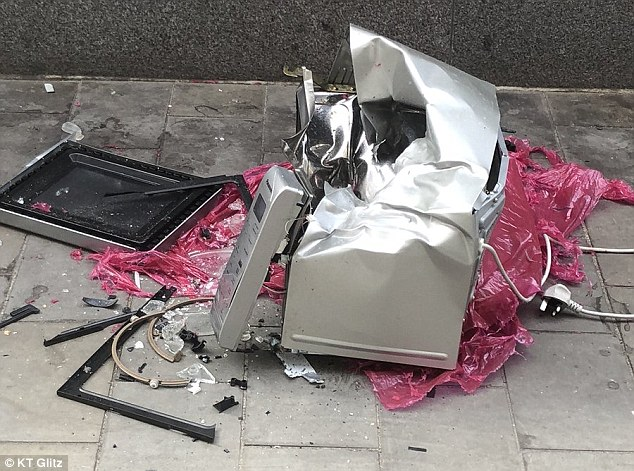 The microwave had been discarded on a side street off St Mary Axe