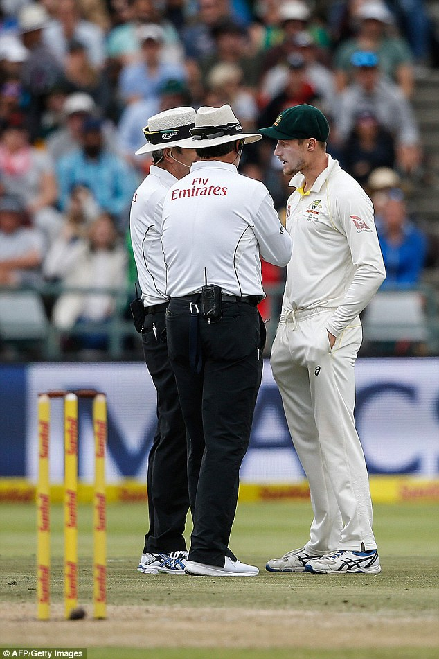 The footage went wild on social media with cricket fans speculating what the batsman had hidden in his pocket, as suggestions of ball tampering escalate