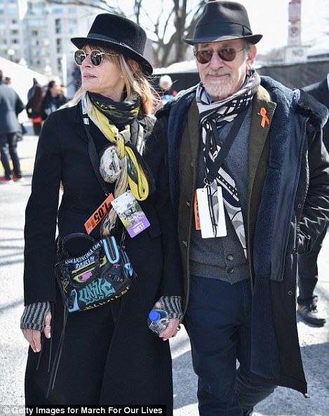 Kate Capshaw and Steven Spielberg are pictured at the Washington DC march