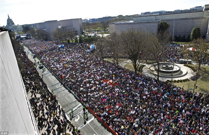 Hundreds of thousands of people filled Pennsylvania Avenue in Washington DC on Saturday for the March For Our Lives against gun violence