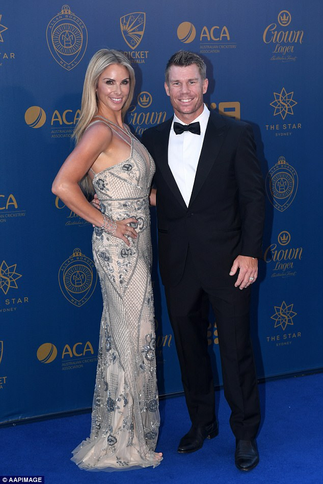 De Kock was accused of starting the row by making a personal remark about Warner's wife Candice (Warner and Candice pictured)