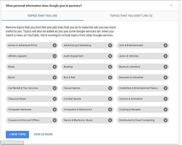 Google builds a marketing profile on you, based on a number of factors. These include details like your location, gender and age, as well as your hobbies and interests. Some of these seem to have been logged by a single search or website interaction alone