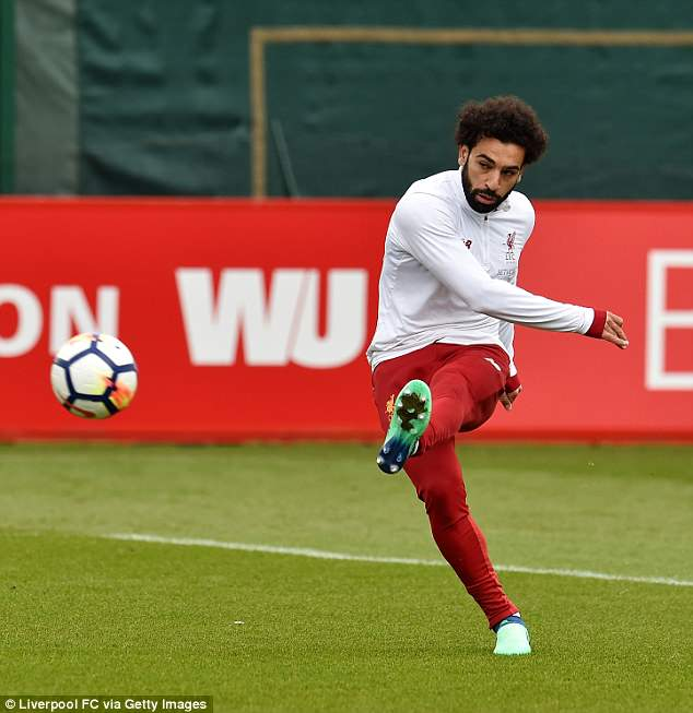 Mohamed Salah could be seen practicing his finishing during Liverpool training on Thursday