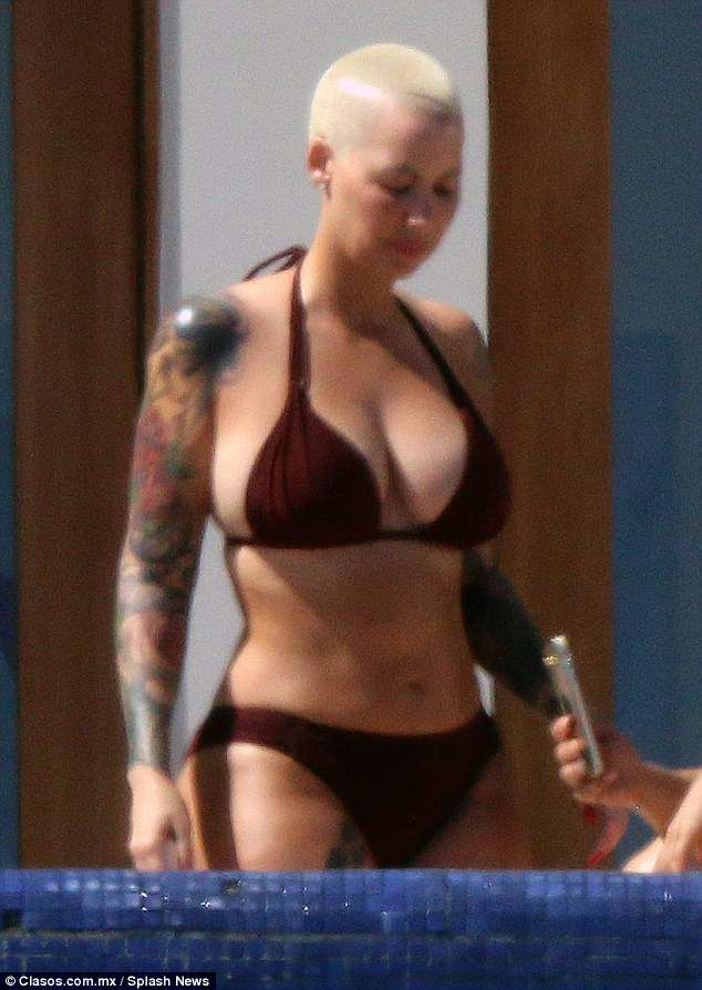 Fresh air: Amber Rose, 34, was spotted enjoying the fresh air of Mexico on Thursday