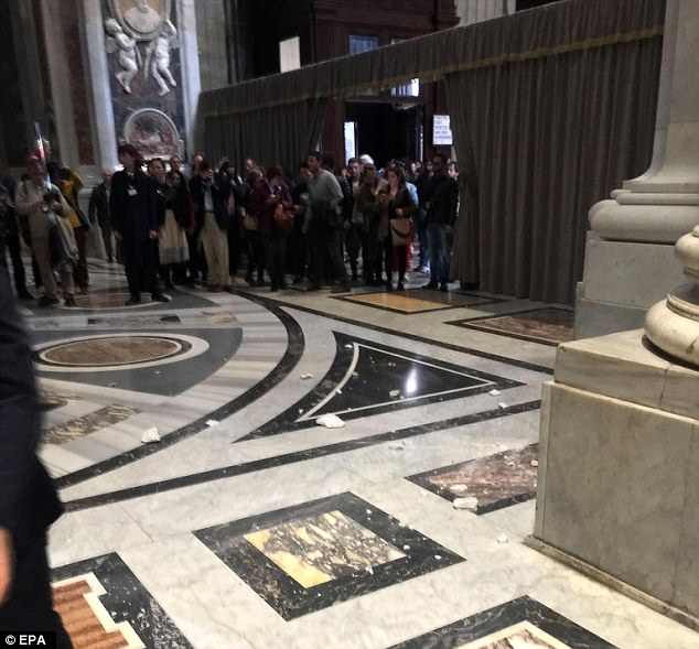 The sky is falling: Parts of the ceiling in the St. Peter's Basilica fell in on Thursday