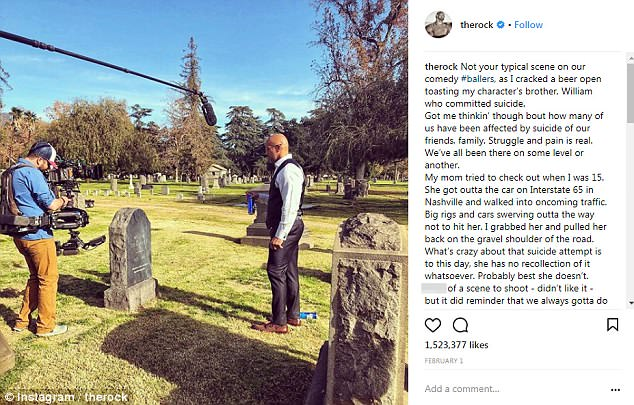 Candid:It was while shooting an emotional scene for the show Ballers, which he posted on Instagram, that he revealed how he had saved his mother's life after she ran into oncoming traffic