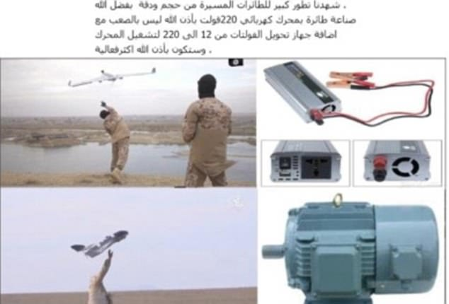 Another image shows what looks like an ISIS fighter launching a drone by hand (left) and detailed technical drawings of the drone's components (right)