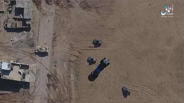 This shot posted on the messaging app seems to show the drone moving into position moments before the explosion