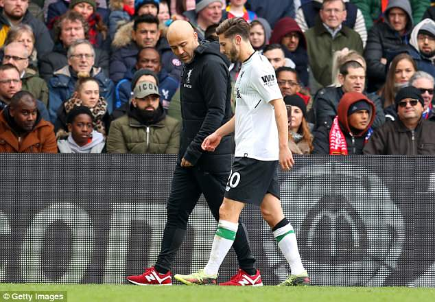 Adam Lallana limped off at Selhurst Park on Saturday and left the ground crutches