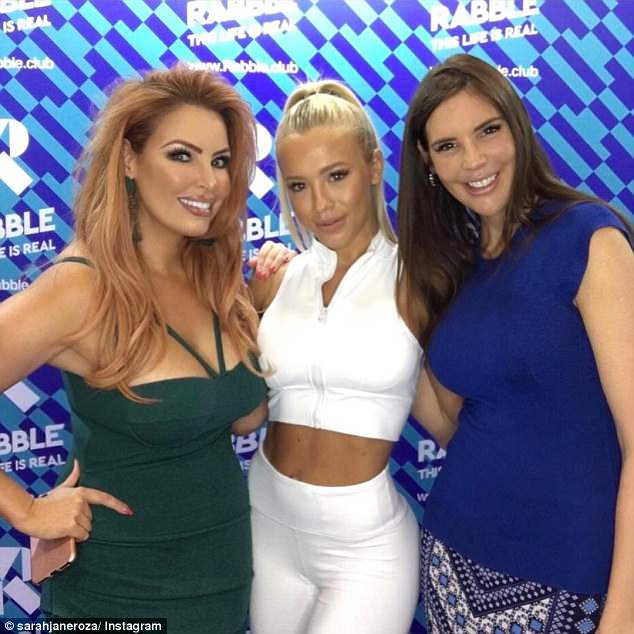 New look: The 38-year-old  shared an Instagram photo on Monday which appeared to show her looking noticeably slimmer. Pictured withTammy Hembrow (centre) andTracey Jewel (right)