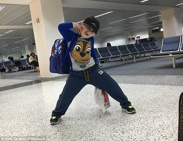 'Three years and four months without my little man. We are back home,' Ms Tarakan captioned this photo of Michael upon their return to Australia