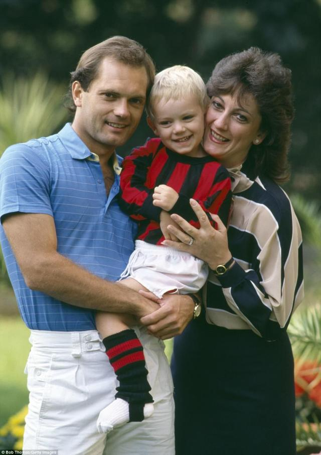 A young Ross wearing the colours of AC Milan after Wilkins signed for the Italian side in 1984