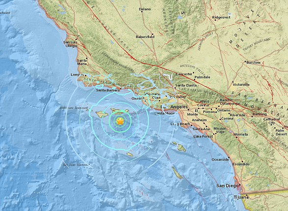 A 5.3 magnitude earthquake hit the Channel Islands off the coast of southern California on Thursday at 10.30am