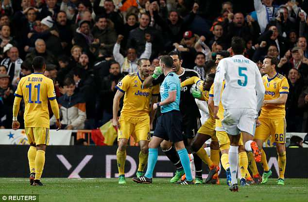 Buffon was infuriated by referee Michael Oliver's decision to award Madrid a penalty late on
