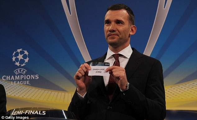 Ukrainian legend Andriy Shevchenko pulls Liverpool out of the pot during the semi-final draw