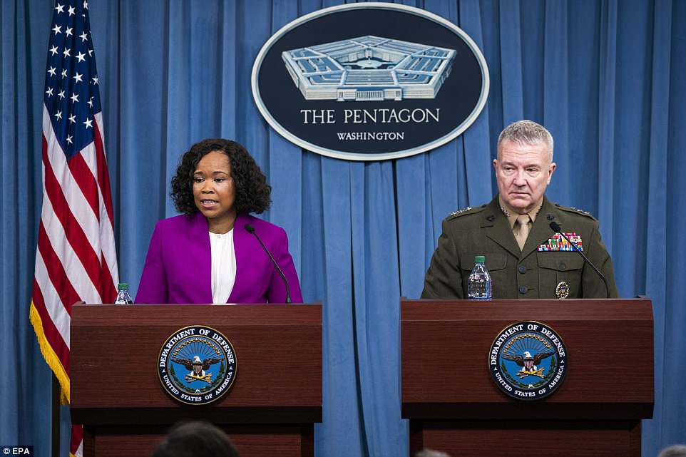 Chief Pentagon Spokesperson Dana White (left) and Joint Staff director Marine Lt. Gen. Kenneth F. McKenzie gave a briefing on the strike on Saturday and said it 'crippled' Assad's chemical weapon arsenal