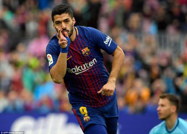 Luis Suarez put Barcelona ahead with his 27th goal of the season across all competitions