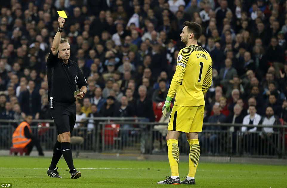 Things got worse for France No 1 Lloris when he gave away a penalty before being given a yellow card by referee Jon Moss