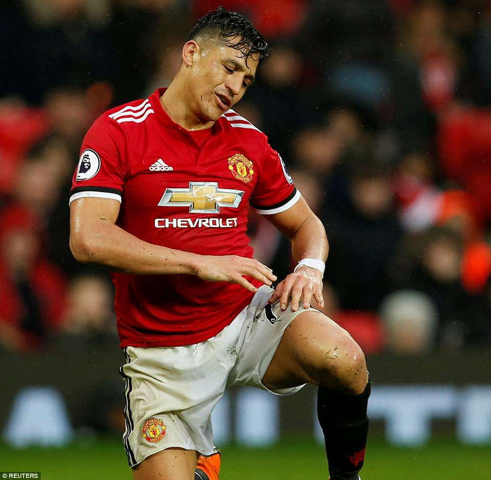 Alexis Sanchez sums up the mood of the Manchester United team as he struggles to his feet following a missed chance