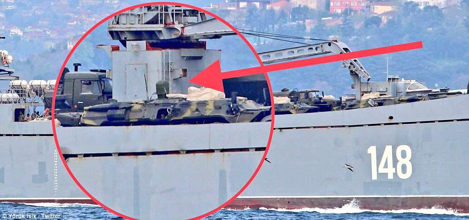 The Project 117 LST Orsk 148 ship was spotted loaded with military equipment (circled) on its way to the Russian naval base at Tartus on the north Syrian coast, where 11 ships were believed to have fled in anticipation of the strikes