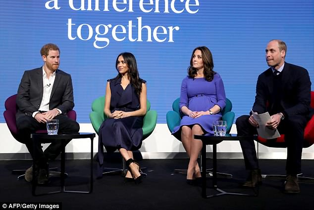 Meghan Markle (pictured centre left) has embraced sitting in the Cambridge cross style by sitting with her legs crossed
