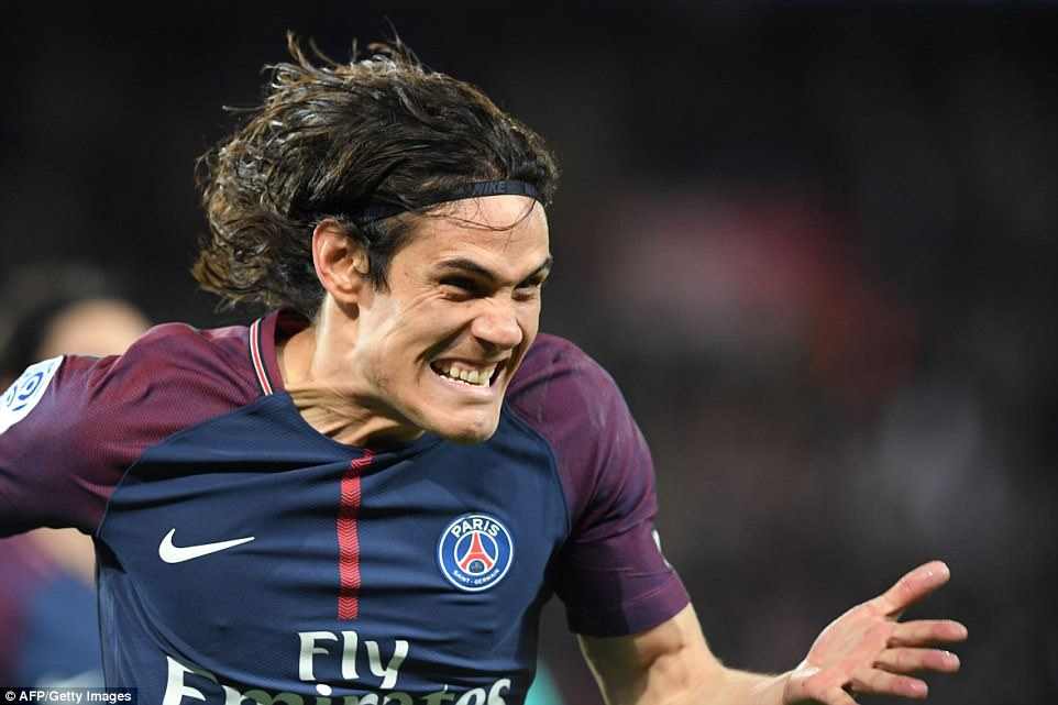 Cavani couldn't hide his delight after scoring as PSG secured an emphatic victory over Ligue 1's second-placed side