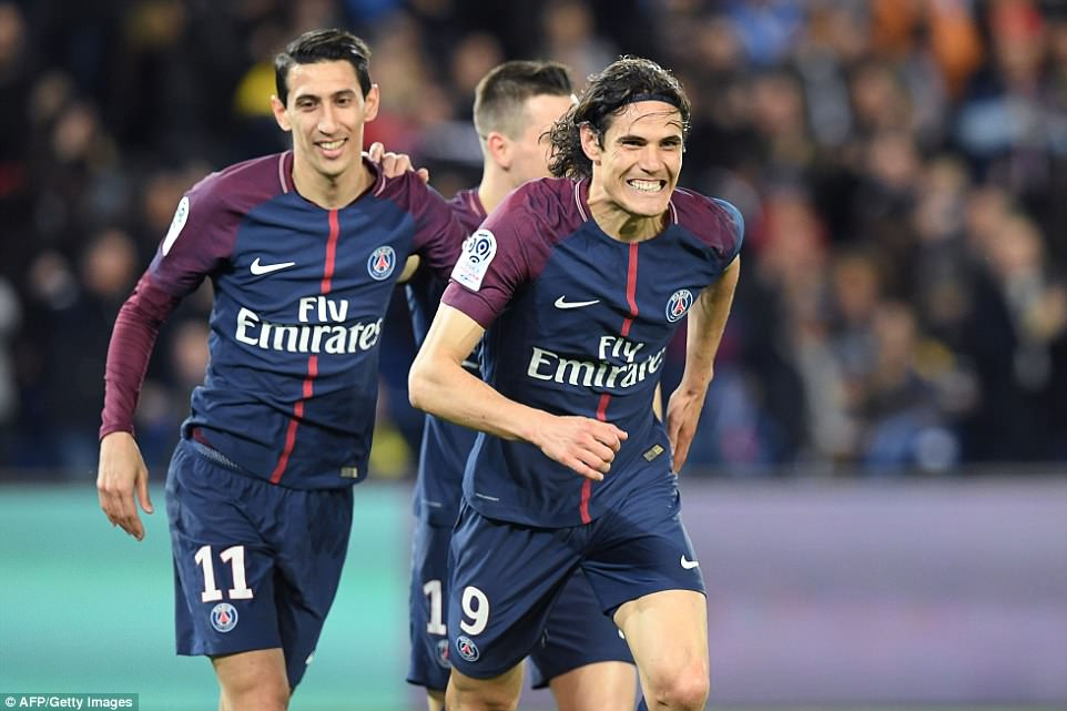 Edinson Cavani is delighted after he found the net as the Uruguayan forward made up for missing an earlier chance