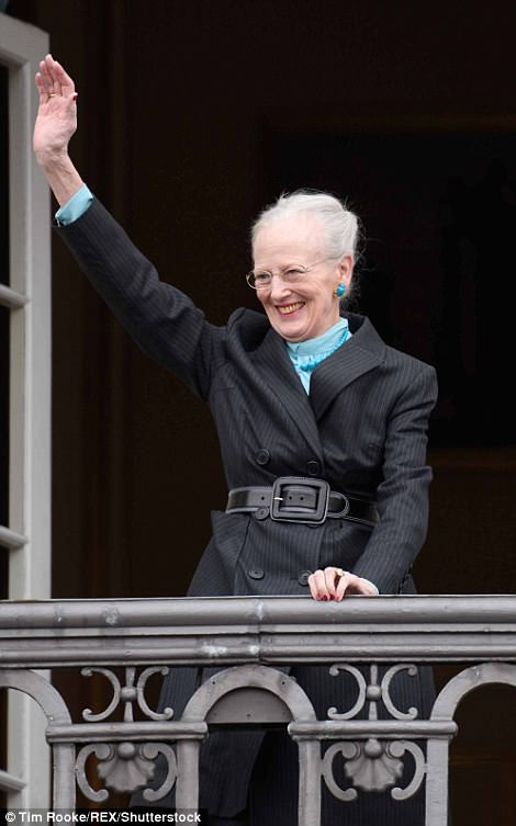 She beamed and waved to the crowds from the balcony of the palace in Copenhagen