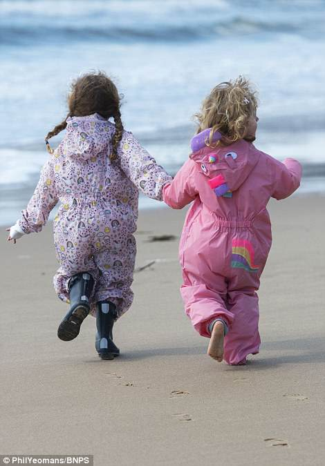 Kids getting their first taste of summer as spring finally arrived on Bournemouth beach today