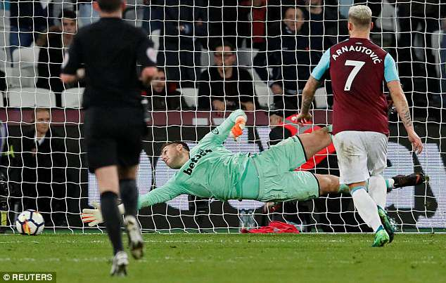 Jack Butland was beaten by Carroll's shot in the dying minutes at the London Stadium