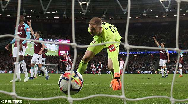 Joe Hart had a moment to forget against Stoke as his blunder led to Peter Crouch's opener