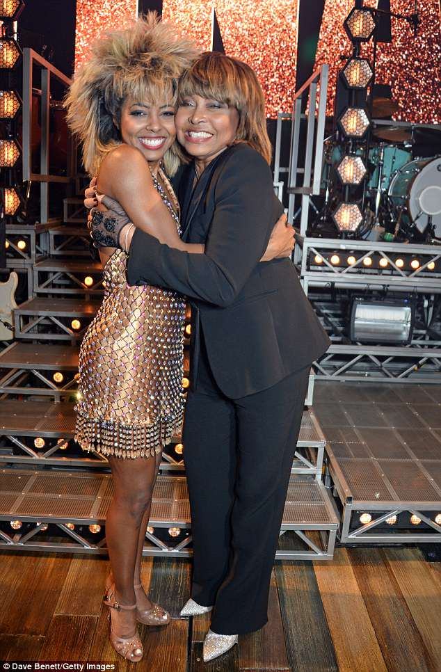 Going strong: Tina joined the woman playing herself in the musical Adrienne Warren on stage on the opening night of the West End show about her life