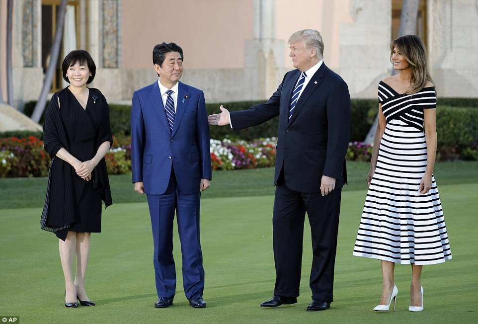 The president and his wife are hosting the Japanese leader and his wife for a two-day summit at Trump's Mar-a-Lago resort