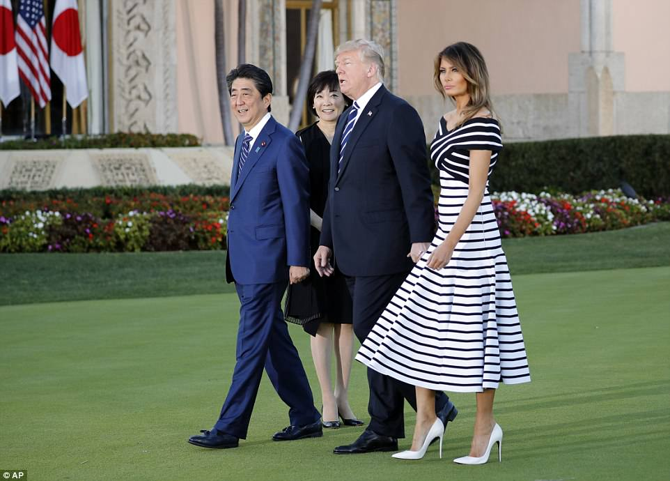 The American first lady looked elegant as usual, sporting a $3,000 Carolina Herrera dress and high heels
