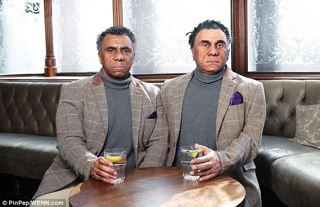 A 'malfunctioning' robot has terrified shocked drinkers in a London pub, by smashing a pint glass and talking about a 'robot invasion'. The life like automaton (right), modelled to be an exact replica of actor Tedroy Newell, 55 (left)