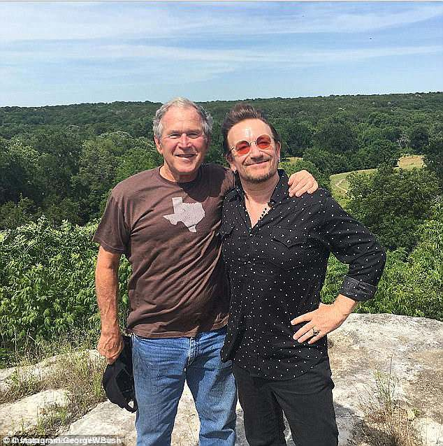 The pair pictured together last year when Bono went to visit Bush at his Crawford ranch