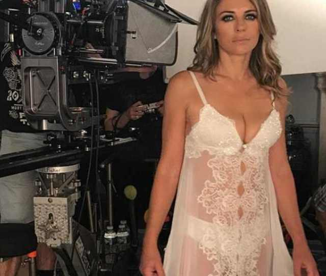Elizabeth Hurley 52 Flashed Her Underwear In Very Sexy Semi Sheer