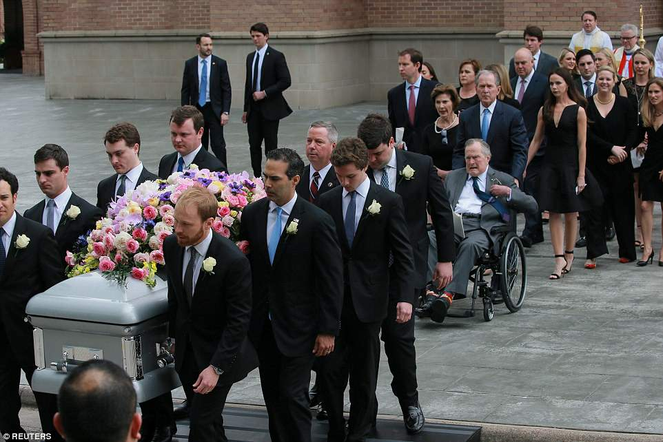 Grandsons: George Prescott Bush, Charles Walker Bush, John Ellis Bush Jr., Robert Daniel Koch, Samuel Bush LeBlond, Robert Pace Andrews, Pierce Mallon Bush and Thomas Alexander Andrews carry out their grandmother's casket