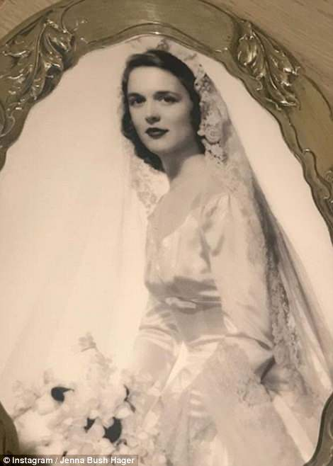 Jenna Bush Hager shared a photograph of her grandmother on her wedding day earlier (right) on Instagram