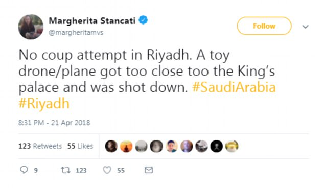 The tweet by a Wall Street Journalist dispelling rumours of a coup near the Saudi Arabian palace