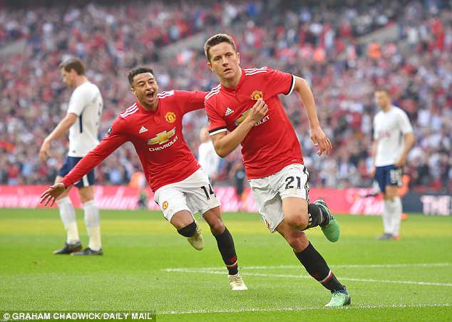 Ander Herrera scored what proved to be the decisive goal to beat Tottenham at Wembley