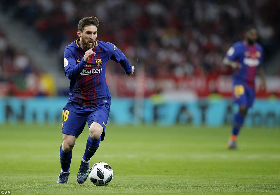 Messi runs with the ball as he drives Barcelona towards another goal in another sublime individual performance