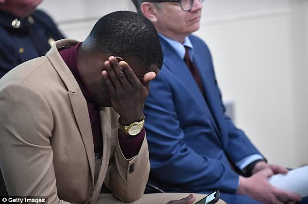 Distress: James Shaw Jr. breaks down in tears at a press conference in Nashville where he was thanked for his bravery