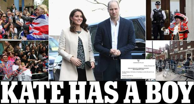 Kate Middleton baby: Duchess of Cambridge gives birth to a 8lbs 7oz boy