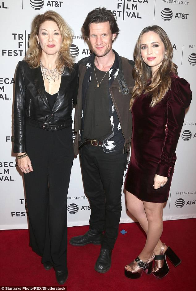 Big night: Smith, who stars as photographer Robert Mapplethorpe in the new biopic, posed on the red carpet with his director Ondi Timoner (left), and actress Eliza Dushku (right)