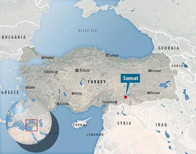 Shaken: The map shows Samsat inAdiyaman province where the earthquake struck