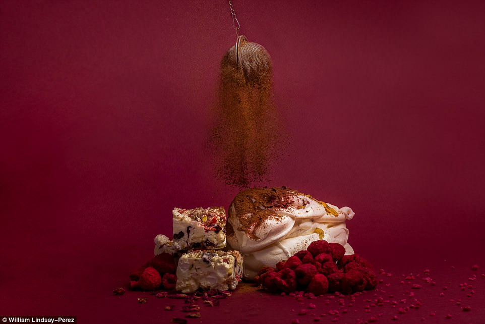 British youngsterWilliam Lindsay-Perez won in the 15-17 age category for his picture Finishing Touches, which shows a sprinkle of cocoa powder over a raspberry meringue with a white chocolate rocky road. He said: 'In this image, I wanted to combine rich colour and movement to create an image that looks as good as the dessert tasted'